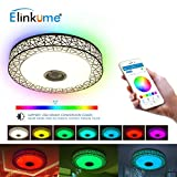 ELINKUME 36W Bluetooth Ceiling Light with Bluetooth Speaker Colour Change Dimmable LED Ceiling