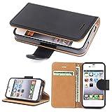 SOWOKO iPhone 4 Hülle, iPhone 4S Hülle, Leder Etui Flip Case Handyhülle für iPhone 4/4S Brieftasche Tasche mit Integrierten Kartensteckplätzen und Ständer/Magnetverschluss, Schwarz