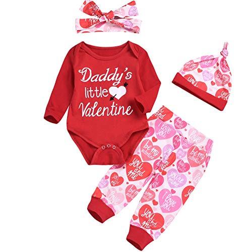 BriskyM Baby Girl Long Sleeve Daddy's Little Valentine Strampler mit Hose und Mütze + Stirnband (Rot, 3-9 Months) (Valentine Shirts Für Kleinkinder)