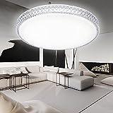 HG® 60W LED Deckenleuchte Wandlampe Weiß Deckenlampe Kristall Deckenbeleuchtung rund Lampe Wohnzimmer Flurleuchte Schlafzimmer Badlampe Wand-Deckenleuchte Starlight Effekt schön Decken Energiespar Dekor Spannung 176V-264V