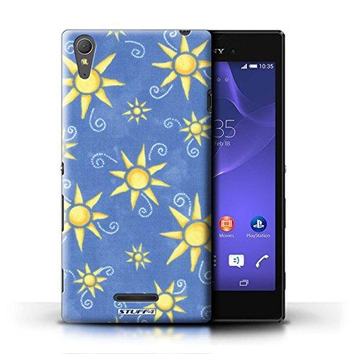 Kobalt® Imprimé Etui / Coque pour Sony Xperia T3 / Vert/Rose conception / Série Motif Soleil Bleu/Jaune