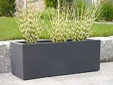 Pflanztrog VITO L80x B30x H40cm aus Kunststoff in anthrazit, Pflanzkübel, Blumenkübel