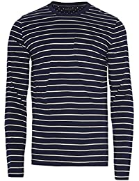 Mens Brave Soul Caine Long Sleeve Striped T Shirt