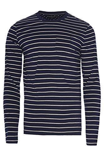 Brave Soul Herren Slim Langarmshirt, Gestreift blau blau Small Caine - Navy Blue