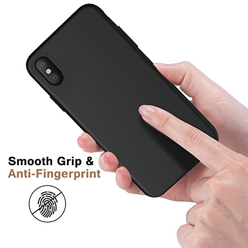 iPhone X Handyhülle, ikalula Premium Kratzfeste iPhone X Schutzhülle Soft Flex Silikon iPhone X Cover Anti-Shock Ultra-thin iPhone X Hülle für iPhone X Bumper Case - Jet Schwarz Schwarz