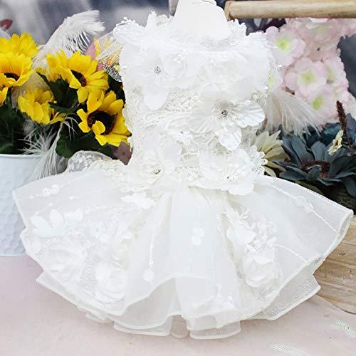 WHZWH Pet Hochzeitskleid, Hund Braut Kostüm Dreidimensionale Blumendekoration Mehrschichtiger Flauschiger Rock Geeignet für Hochzeitsfotografie Geburtstagsfeier,XS