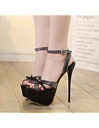 GTVERNH-modello scarpe eleganti 15-17cm super tacchi pesante tallone impermeabile piattaforma baotou unico negozio di scarpe di notte le scarpe trentotto black