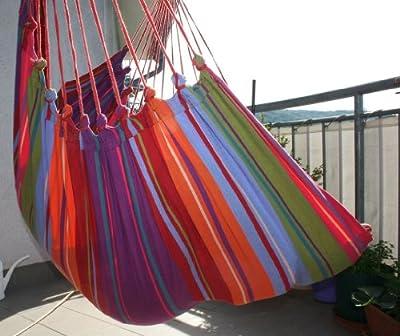 Hängestuhl XL Cayo Grande Colorido original Südamerika Baumwolle pink von MacaMex bei Gartenmöbel von Du und Dein Garten