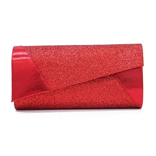 Lchengjin pochette da donna borsa a mano a tracolla in pelle con paillettes borsa a tracolla con busta in pu sposa borsa a tracolla da damigella damigella d'onore per matrimoni banchetti rosso