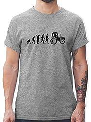 Evolution - Evolution Traktor - XL - Grau meliert - L190 - Tshirt Herren und Männer T-Shirts