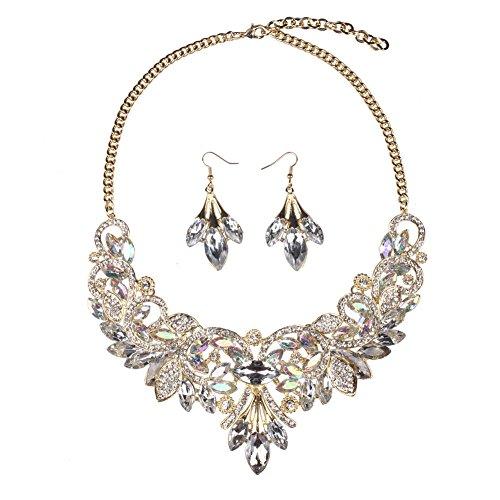 Hamer weiß und schwarz Anhänger Kristall Charms Statement Choker Halskette und Ohrringe Sets für Frauen Fashion Bohemian Kostüm Schmuck - weiß