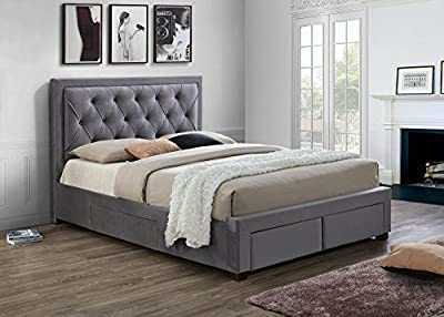 Happy Beds Woodbury Classic Storage Bed Soft Grey Fabric Furniture Mattresses - cheap UK light shop.