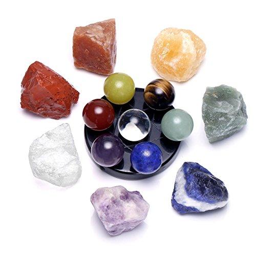 Crystaltears 7chakra reiki cristallo terapia kit, raw rough gemstones & 7star gruppo quarzo bacchette con sfere di cristallo statua array ossidiana su supporto set chakra stones(raw)+7 star group(balls)