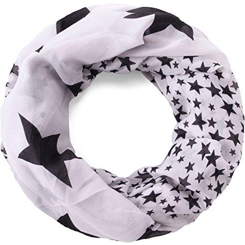 Compagno Stern Loop-Schal mit großen und kleinen Sternen Schlauchschal, SCHAL Farbe:Weiß-Schwarz