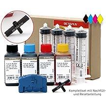 Octopus Set completo con reseteador para cartuchos Brother LC-223, LC-225, LC-227, LC-229 con tinta de para impresora 4 x 100 ml, set de tinta: Brother DCP-J 4120, MFC-J 4420, J 4425, J 4620, J 4625, J 5320, J 5600, J 5620, J 5625, J 5720 tinta de relleno, reseteos ilimitados (no es fabricante de equipo original)