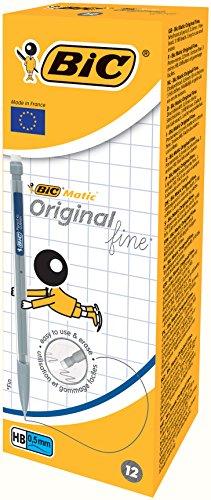BIC Matic Original - Caja de 12 unidades, portaminas automáticos Fine 0,5 mm HB, colores surtidos