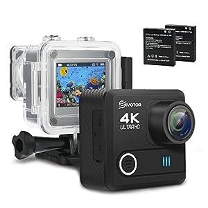 Action Kamera, EIVOTOR WIFI 4K Sport Kamera 16MP Helmkamera 30m Wasserdicht Unterwasserkamera 2 Zoll Action Cam mit 2 Akku,170°Ultra-Weitwinkel,Zubehör Kits für Helm,Fahrrad,Schwimmen,Tauchen