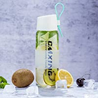 Botella Agua Vidrio, CMXING 450ml Botella de Agua Cristal ecológico botella ecológica Botella de vidrio Deporte Botella Cristal , sin BPA portátil Sport botella de agua con correa para transporte para zumo y bebidas