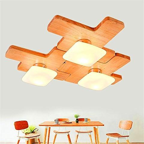 Xin Home Schlafzimmer Holz Deckenleuchte Wohnzimmer Kinderzimmer Spur Licht Schutz der Augen Einfache warme kreative Persönlichkeit Kronleuchter Puzzle 3kombiniert werden können