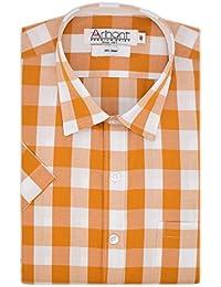 Arihant Men's Half Sleeves Checkered 100% Cotton Regular Fit Formal Shirt