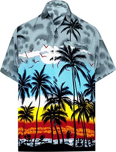 LA LEELA Beach Hemd männer Hawaiihemd Kurzarm Button Down Kragen Fronttasche Beach Strand Hemd Manner Urlaub Casual Herren Aloha XL Grau_W137 - Button-down-vintage-shorts