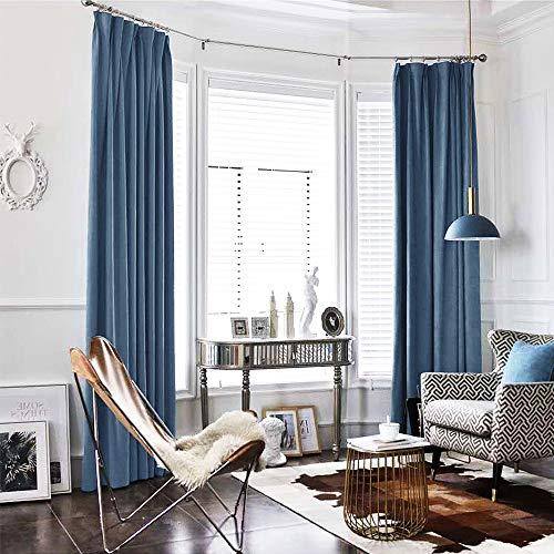 TOPICK Baumwollflanell Velvet Vorhang in Edler Samtoptik Schlafzimmer Gardine Dekoschal mit Stangendurchzug, Starke Beschattungsfähigkeit, blau, 1 Paneel, 213cm x 132cm