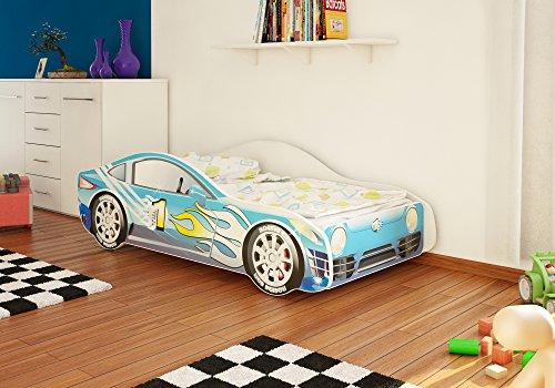 Autobett Junior in vier Farben mit Lattenrost und Matratze 70x140 cm Top Angebot! (Blau)
