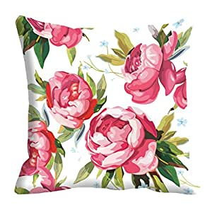 """meSleep Abstract Satin Flowers Pattern Digitally Printed Cushion Cover - 16"""" x 16"""", Pink"""