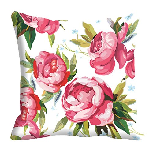 meSleep Flowers Pattern Digitally Printed Cushion Cover (16x16)