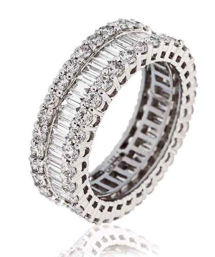 2,25ct Certificato G/VS2Baguette taglio brilliatn rotondo Abd tre fila diamante Full Eternity Anello in oro bianco 18K, oro bianco, 58 (18.5), cod.