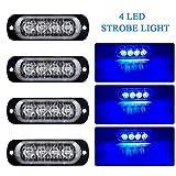 4pz Ultra Thin 4LED Luci di Emergenza Blu Hazard Lampeggiante Luce Stroboscopica Luce Universale per 12-24V Car Truck Trailer Camper Moto Furgone