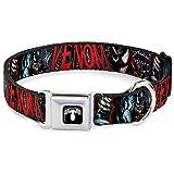 Buckle Down 45,7–81,3cm Venom Action Pose/Todesstrafe Pose/Web Hundehalsband, schwarz/weiß/rot, breit groß