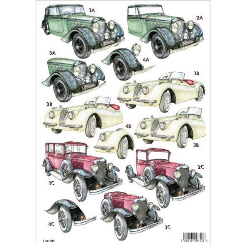 Cheapest 3D Die-Cut Decoupage Sheet 8.3″X11.69″-Antique Cars Discount