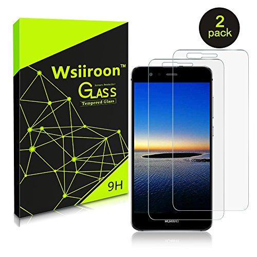 Schutzfolie für Huawei P10 Lite, [2 Stück] Wsiiroon Panzerglas mit 3D Touch Kompatibel-0.33mm für Huawei P10 Lite, 9H Härte, 2.5D Kanten, 99% Transparente Displayschutzfolie für Huawei P10 Lite Test