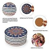 DINGHENG Untersetzer Saugfähige Keramik Untersetzer mit Korkrücken Mandala Stil für Tassen Tisch Bar Glas 6er Set - 3
