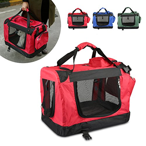 Faltbare Hundebox 122x79x79cm Haustier Transportbox Klappbare Hundebox Autobox inkl. Gepolstert und Gerüst aus Metall -- Rot