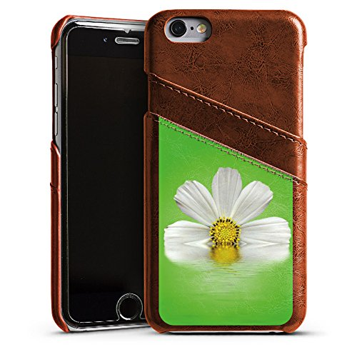 Apple iPhone 4 Housse Étui Silicone Coque Protection Pâquerette Fleur Fleur Étui en cuir marron