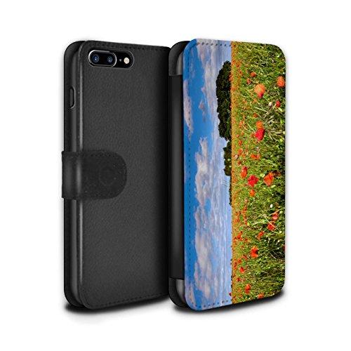 Stuff4 Coque/Etui/Housse Cuir PU Case/Cover pour Apple iPhone 7 Plus / Fleur Rouge Design / Campagne Colombie Collection Champ