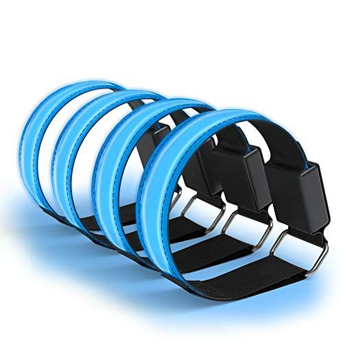 mband – Klettarmband mit 3 verschiedenen Modi I Leuchtarmband zur besseren Sichtbarkeit beim Joggen, Radfahren, Reflektor ideal für Kinder und Aktivitäten in der Dunkelheit, Blau ()