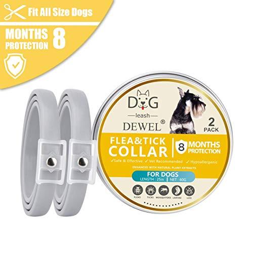 2er X 63,5cm Zecken Halsband für Hunde und Katze, Verstellbar Wasserdicht Hund Flohhalsband, Natürlicher Zecken- und Flohschutz