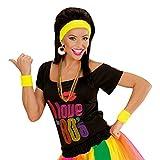 NET TOYS Schweißbänder Schweißband Set neon-gelb Stirnband und Zwei Armbänder Schweiß Bänder 80er Jahre Party Accessoires Mottoparty Kostümzubehör Karneval Kostüm Zubehör