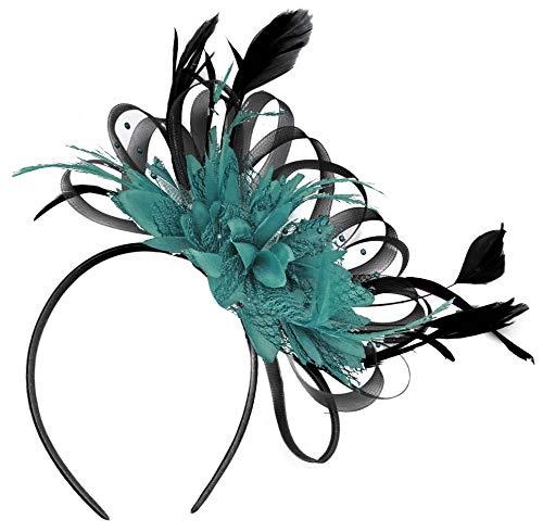 Schwarz Net Hoop und Blaugrün Federn Haar Fascinator Haarband Hochzeit Royal Ascot Races -