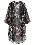 Damen Sommer floral bedruckte Chiffon Kimono Cardigan Schal Tops (xxl, schwarz)
