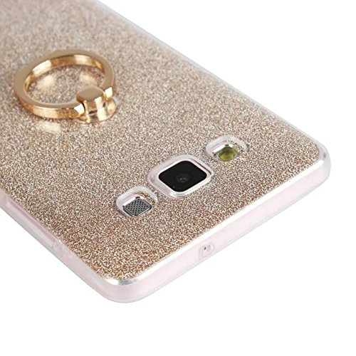 Luxus Bling Sparkle Style Case, Soft TPU [Silikon] Flexible Glitter Rückentasche mit Fingerring Stand [Anti Scratch] [Shockproof] für Samsung Galaxy A7 ( Color : Gold ) White