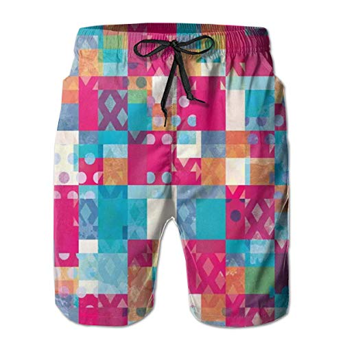 Jieaiuoo Men Swim Trunks Beach Shorts,Abstractotif with Dots with Squares and Chevronines Urban Art Design Print XL -