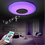 HOREVO Plafonnier Plafón LED Lámpara de Techo con Altavoz Bluetooth, 24W D40cm, Luz blanca
