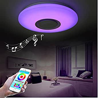 horevo 24w 40cm rgb led deckenleuchte mit bluetooth lautsprecher smart home lampe 6500k 1800lm. Black Bedroom Furniture Sets. Home Design Ideas