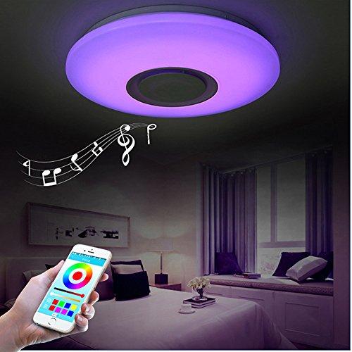 HOREVO 24W Ø40CM RGB LED Deckenleuchte mit Bluetooth Lautsprecher Smart Home Lampe 6500K 1800LM Dimmbar LED Smart Musik Deckenlampe, Deckenbeleuchtungt Warm Weiß/Kaltweiße (Mount Fixture 1 Licht)
