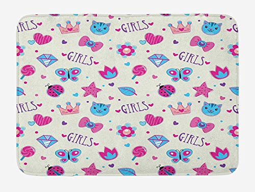 NasNew Doormats Teen Girls Bath Mat, Pattern with Funny Doodle Elements Bowtie Ladybird Diamond Figures and Kitty, Plush Bathroom Decor Mat with Non Slip Backing, 23.6 W X 15.7 W Inches, Fuchsia Blue - Royal Blue Bowties