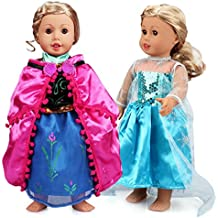 VAMEI 2 Set Girl Doll Clothes Frozen Princess Dress Ball Gowns Elsa and Anna Princess Costumes for 18 inch American Girl Dolls